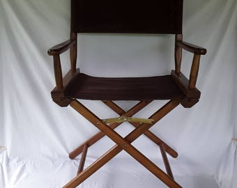 Superb Mid Century Directors Chair Wooden Frame Brown Canvas Telescope Foldable  Vintage ORIGINAL