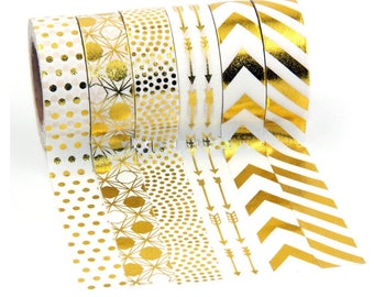 january Special Set Of 6 Gold Foil Washi Masking Tapes
