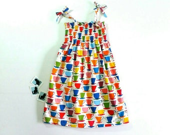 Girls sun dress, girls high tea dress, shirred dress, colourful print dress, rouched dress, party dress, birthday dress, tea cup print dress