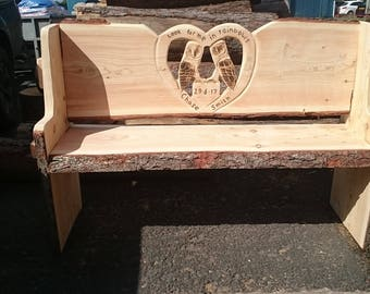 Chainsaw carved rustic garden bench with two owls