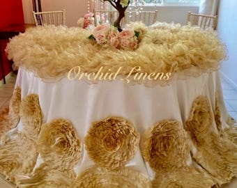 Baronesse rosette tablecloth, Champagne Rosette tablecloth, Baronesse Rose tablecloth