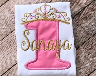 Baby Girl First Birthday Princess Shirt