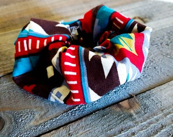 Tribal Print Scrunchie, Aztec Print Scrunchie, Southwestern Print Scrunchie, Trendy Scrunchie, Gift for Teen, Gift for Her, Gift for Friend
