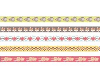 Set of 5 Masking Tape Native American - tape - tape sticker - masking Tape Fox - 11004660
