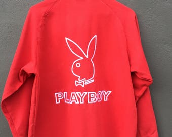 Vintage Playboy  Pull Over Big Logo Spell Out Embroidered Sweatshirt