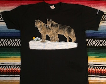 Vintage 80s Harlequin Banff, Canada Wolf Graphic Shirt Sz L fits M USED Super Soft!