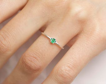 Emerald Engagement Ring. Emerald Ring. Emerald Crystal Ring. Raw Emerald Ring. Rough Emerald Ring. Emerald Crystal Engagement Ring.