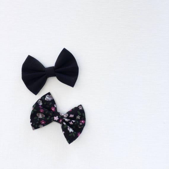 Daffodil >> MINI size | black fabric bows| floral hair bows | modern simple fabric bow | mini hair bow | nude nylon headband