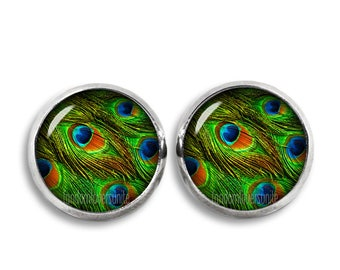 Peacock Feathers Stud Earrings Peacock Feather 12mm Stud Earrings Peacock Earrings
