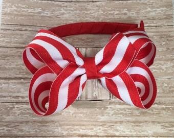 Red headband with a bow, girls headband, plastic headband, red bow headband, back to school headband, back to school hair bows,