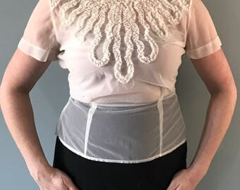 1940's Sheer Button Back Cream White Blouse with Ruffles, Size 36 (Medium)