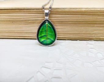 Green teardrop necklace, Dark Green necklace, Forest Leaf, Tree leaf jewelry, Everyday pendant, Green drop necklace, Deep green necklace