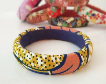 1 African fabric cuff bracelet Pink White, mustard and old wax