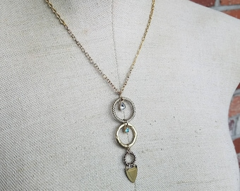 White and Teal Rhinestone triple hoop gold and brass totem charm necklace