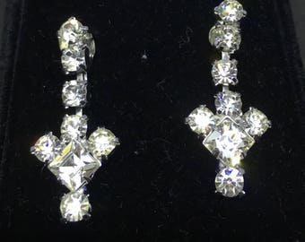 Vintage 1940/50s Dangle Drop Rhinestone Earrings - converted from screw-back to pierced