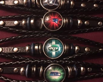 Football Team 18mm Snaps on Genuine Leather Bracelets for Interchangeable Snap Jewelry - Men or Women
