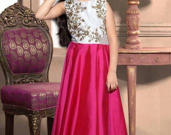 Indian kid Gown/ readymade pink and white \kidswear/party wear/wedding wear/evening wear/long gown/kid gown/dress