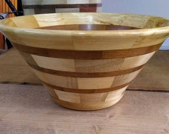 "9"" Segmented Wood Serving Bowl"