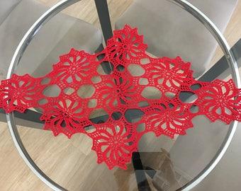 Red Cotton Hand Crochet Table Runner