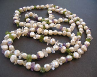 pearl, amethyst, peridot necklace