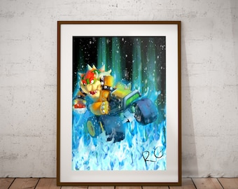 Bowser King Koopa Nintendo Mario Kart Video Game Wall Art Print