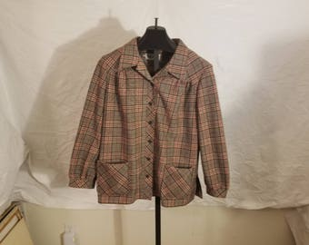 Vintage 1960s Womens Size Large Marty Gutmacher Red, Gray And Black Plaid Button Down Jacket / Shirt With 2 Front Pockets Long Sleeve EUC