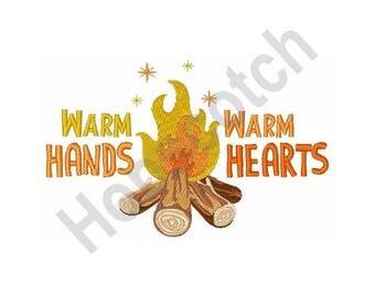 Warm Hands Warm Heart - Machine Embroidery Design, Campfire