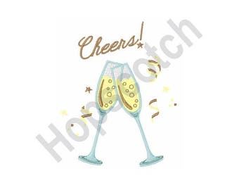 Cheers! - Machine Embroidery Design, Champagne Toast