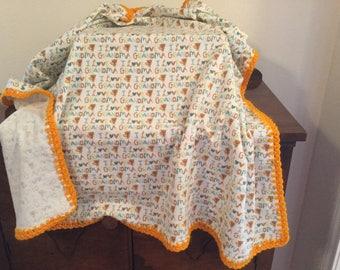 "Baby Flannel Receiving Blanket ""I Love Grandma"""