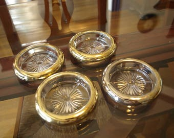 4 Vintage Glass Coasters with Silver / Gold Colored Trim
