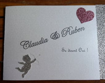 Silver Rose glitter wedding invitation