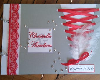 Book with gold Corset Cabaret feather silver and Red 30 pages