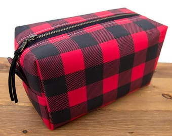 Buffalo Plaid Bag - Makeup Bag Christmas Gift - Makeup Organizer - Makeup Brush Holder - Cosmetic Bag - Toiletry Bag Buffalo Check Gift #82