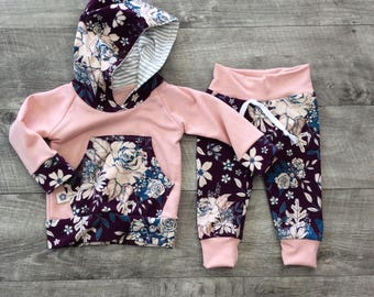 Pretty mauve rose Baby girl clothes with fun black and white stripe hood, toddler girl clothes, take home outfit trendy girl clothes