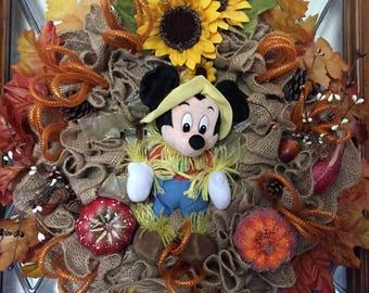 Fall Thanksgiving Scarecrow Mickey Burlap Wreath
