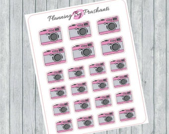 Camera Retro Pink Photography Planner Stickers - For the Erin Condren Planner and Happy Planner