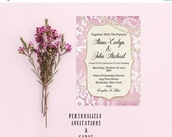 25% OFF SALE- DIGITAL Invite Wedding Invitation Diy Invitations Damask Print Wedding Invites Demask Wedding Invitation Kits Invitation  Plj