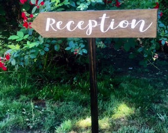 Reception Stake Sign-Directional Wedding Sign-Reception Arrow Sign-Wedding Wood Sign-Woodsy Sign