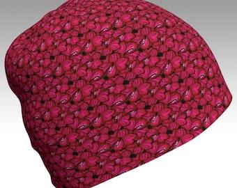 Pink Beanie, Flower Beanie, Festival Beanie, Gypsy Hat, Eco Friendly, Slouch Beanie, Unisex Beanie, Boho Hat, Boho Beanie, Printed Beanie