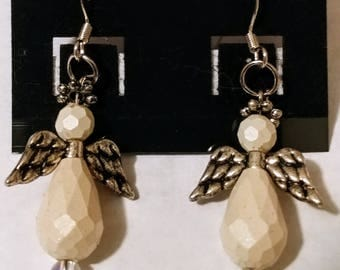 Large white angel earrings