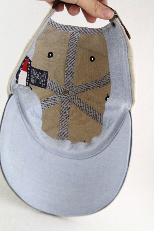 Vintage 90 s Tommy Hilfiger Big Logo Flag Baseball Cap    Beige Tommy  Hilfiger Dad Hat 1840e919f09d