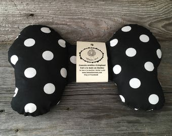 Elephant ears cushion pillow head baby in the seat autot black and white polka dots