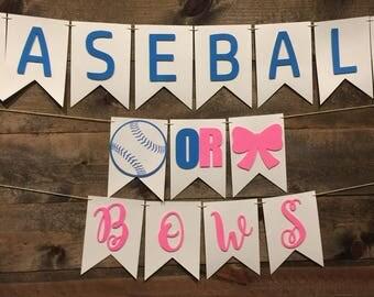 Baseball Or Bows Banner | Gender Reveal Banner | Baby Shower Banner | Reveal Party | Pink And Blue Banner | Gender Reveal Decorations |