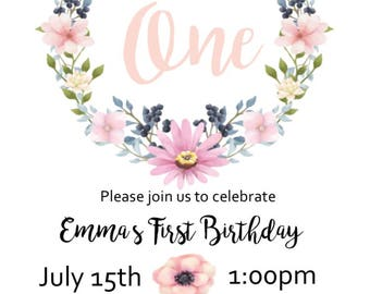 Customized Digital First 1st Birthday invitations Girl Floral Wreath Design