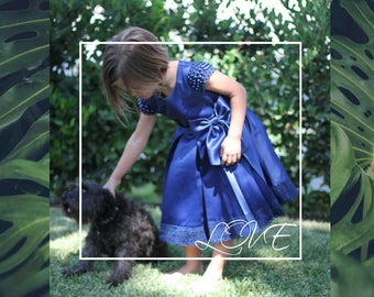 Girl Premium Satin Royal Blue Dress, Bow, Lace Hem, Pearl Cap Sleeves, Flower Girl, Pageant, Wedding, Party, Special Occasion