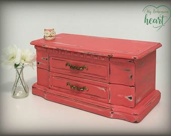 Jewelry Box, Hand Painted Coral Jewelry Box, Jewelry Storage, Mother's Day Gift, Trinket Keepsake, OOAK, Distressed Rustic Jewelry Chest