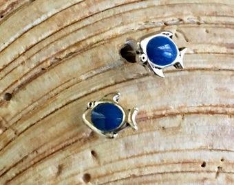 Sterling Silver Blue Fish Earrings