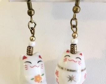 Cute Porcelain Happy Couple Fat Cat Earrings