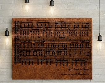 Leather Anniversary Custom Music Sheet - 3rd Wedding Anniversary Gift, First Dance/ Wedding Song Music Notes on Canvas