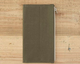 fourruof x Traveler's Factory Collaboration Zipper pocket Case Regular size Olive TRAVELER'S COMPANY Made in Japan Traveler's Notebook